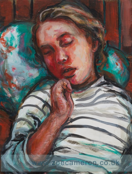 Painting of a young girl sleeping. Her head on a cushion wearing a striped T-shirt.