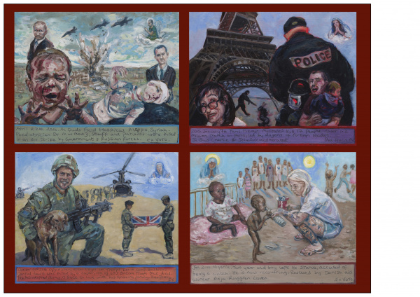 ExVoto.Paintings of World events. Al Quds Field Hospital Aleppo, Paris - Jus Sis Charlie, Conrad Lewis - Camp Bastian, Danish aid worker Anja Ringgren Loven - helping children Nigeria.