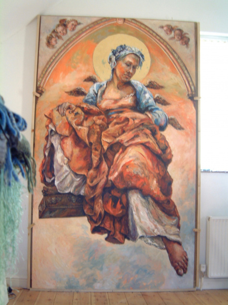 A large painting of healing angel Raphael