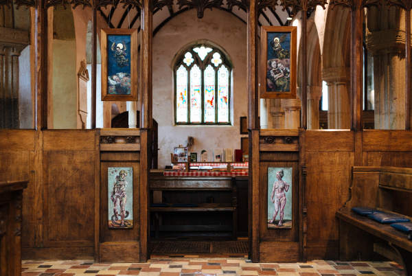 St Breaca Church Breage where the paintings of 'Sleeping Children' were first shown in entrance to the healing Chapel