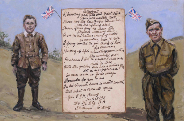 Ex Votive Painting of a child and the man in WWII, with a copy of his poem.