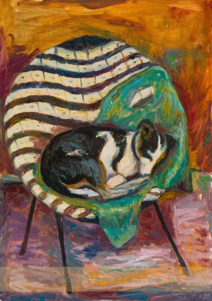 Painting of the artists dog asleep in a chair, at Porthleven Net Loft, Cornwall.