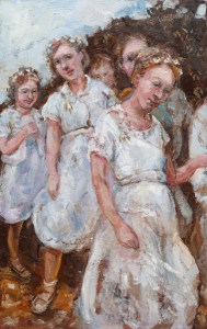 A painting of the children dance on Flora Day, Helston ,Cornwall . The children all wear white and have flowers in their hair . Painted 2011.