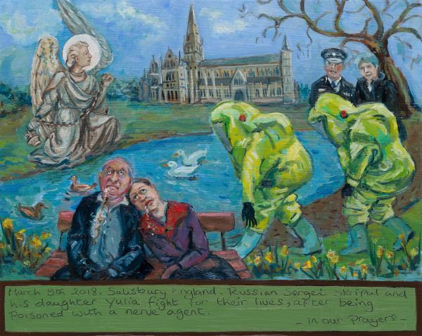 A painting about the poisoning of two people in Salisbury. The father and daughter are on a bench unconcious , 2 men in protective suits attend, the cathedral is behind and Theresa May talks with a police man.