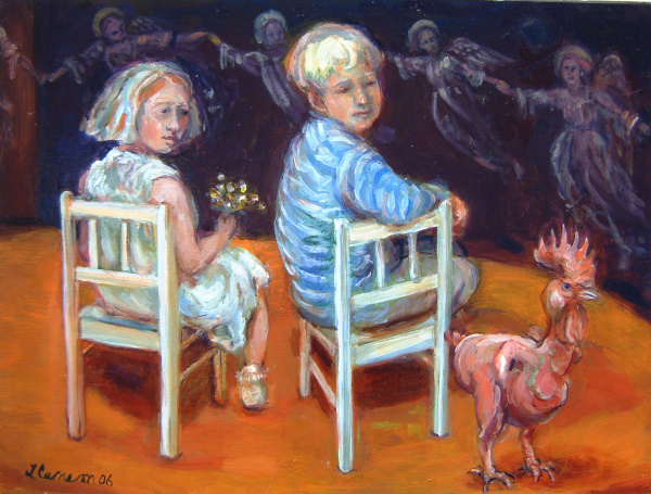 Painting of two children looking at a naked chicken that science invented to save time in the meat industry. Childhood innocence, science, morality, politics.
