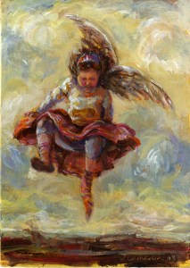 Painting of a falling angel in the sky with baggy socks. Acrylic on board . 2008 .