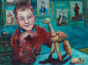 painting of a boy who has won first prize for a vegetable animal the boy is sitting in the Devonshire House - A la Rhonde .