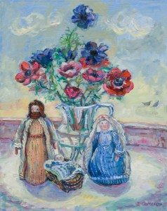 A painting made at to celebrate Christmas. A still life with anemones in a glass jug and knitted nativity figures .