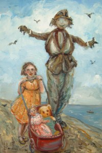 painting of a child by the sea, pushing a pram with a doll and teddy passed a frightening scarecrow.