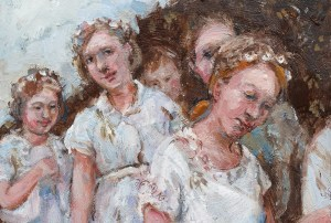 Detail of children faces from a painting about Flora Day, Helston, Cornwall .