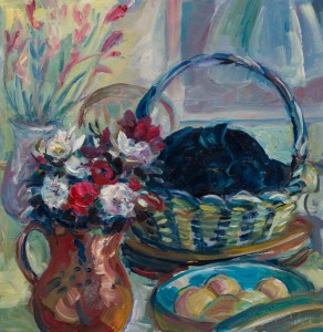 A painting of a still life with flowers in jugs, fruit in a bowl and a black cat sleeping in a basket on the table.