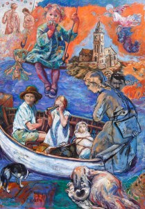 Painting about the complexity of the world as children ( swallows and Amazons) set off on adventure. Adam and Eve, Porthleven Mens Institute, angels, Hitler , and other subjects are all represented in this painting.