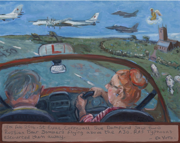 Painting of a woman driving in a car with Russian bombers flying above St Eval church, Cornwall , and Typoon jets escorting them away.