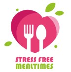 Logo with the words stress-free Mealtimes below it.  The logo is a stylised pink heart with a knife and fork in the middle as though it is a plate with some green leaves coming off it.