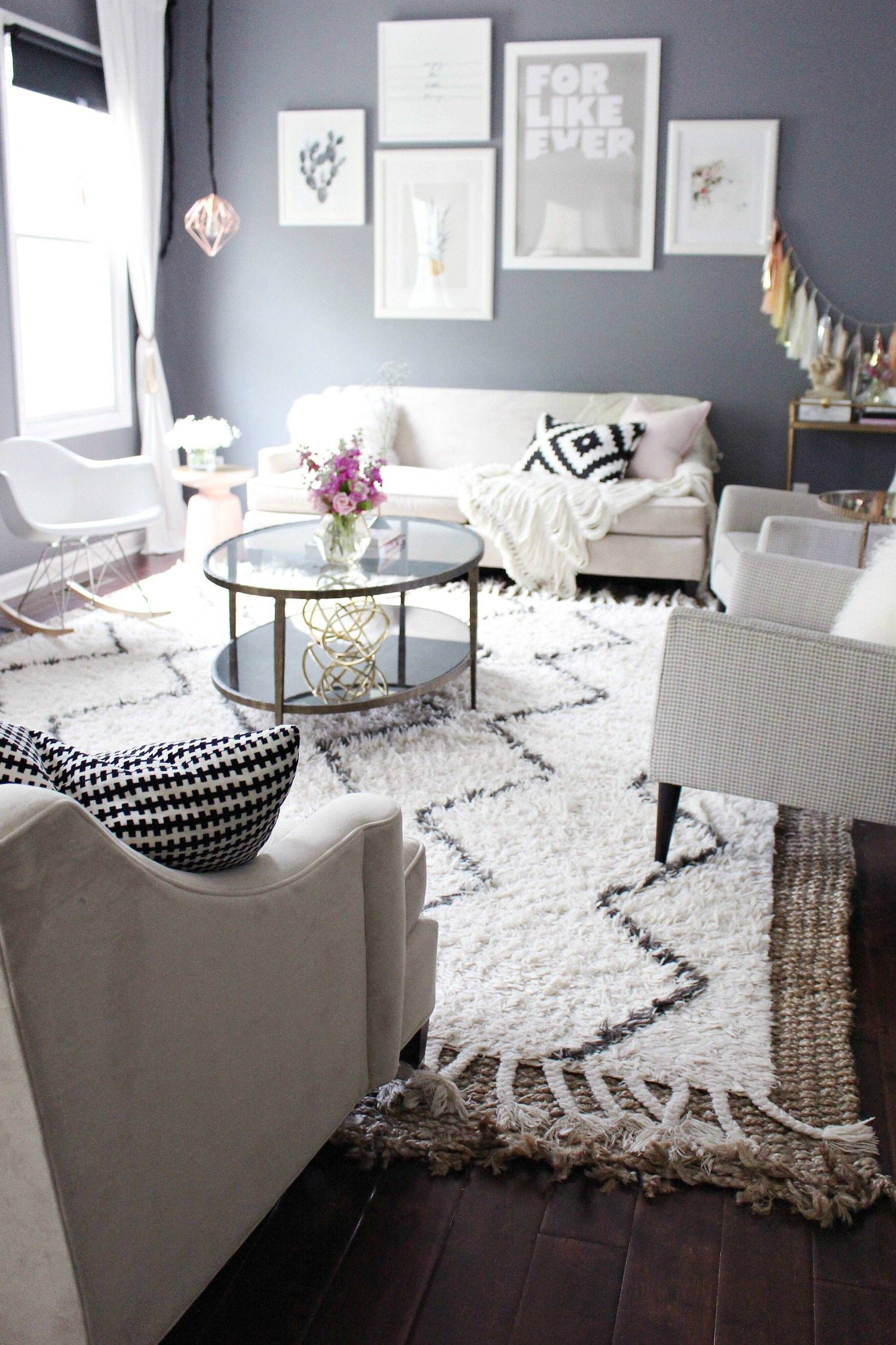 Living Room Design   Gray And Pink Zoewithlove.me