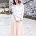White Lace Top and Pleated Midi Skirt