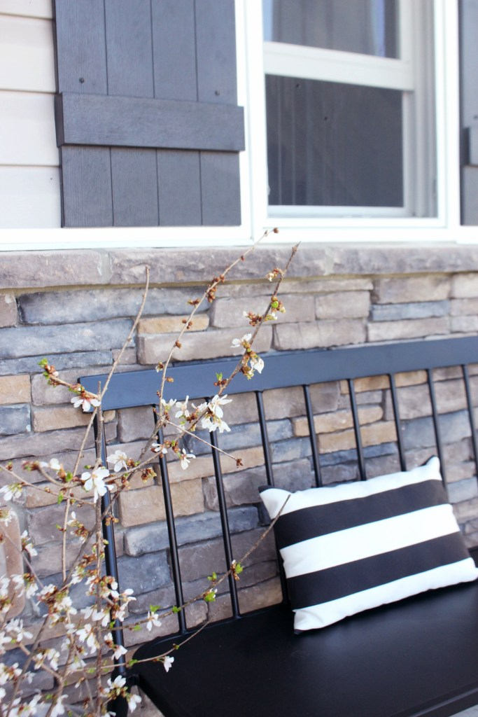 Flowering Spring Branches + The Perfect Front Porch Bench