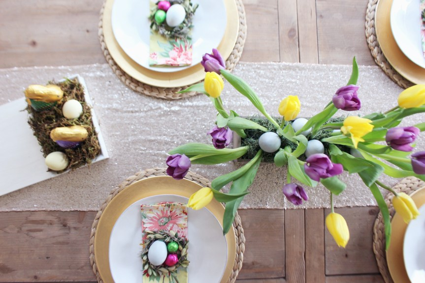 Zoe With Love shares how to create an easy tulip centerpiece for your Easter table. Natural dyed eggs, floral napkins and chocolates complete the look.