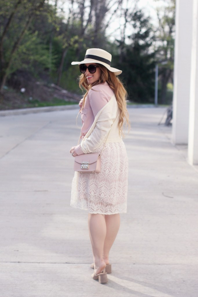Pink shirtdress with cardigan styled for spring by Zoe With Love