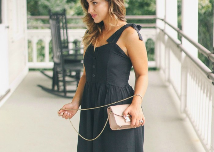 Black Jumpsuit with Blush Pink Accessories