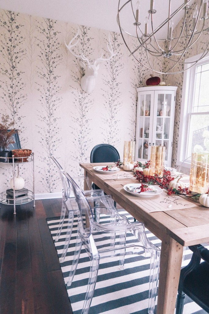 Fall Table Garland and Butcher Paper Placemats: Zoe With Love Details How to Decorate a Thanksgiving Table on a Budget