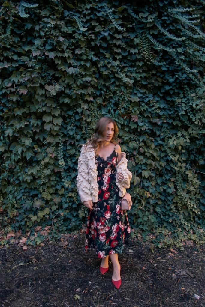 Autumn Floral Anthropologie Slip Dress