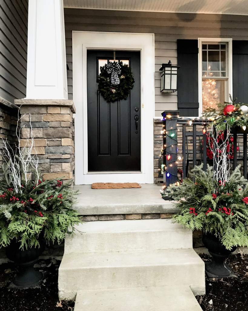 Front porch with natural greenery for Christmas urns and planters | Pittsburgh Lifestyle Blog, Zoe With Love