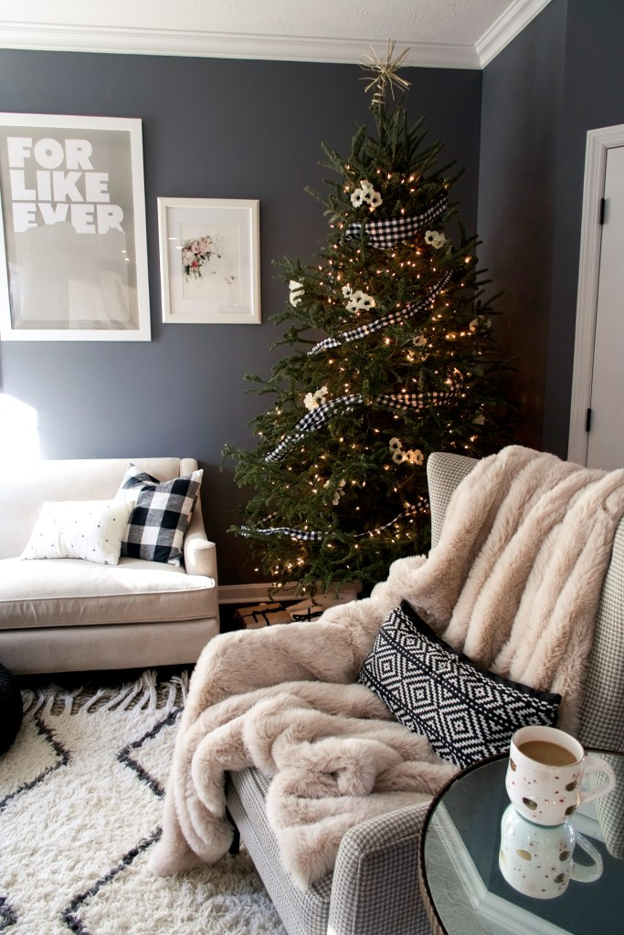 Gingham check and flower Christmas tree, Living room Christmas Tour | Zoe With Love, Pittsburgh Lifestyle Blog