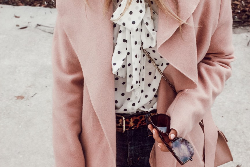 Pink Waterfall Coat, Polka Dot Blouse: One Outfit, Two Ways: Colored Jackets + Nude Shoes | Pittsburgh Lifestyle Blogger, Zoë With Love