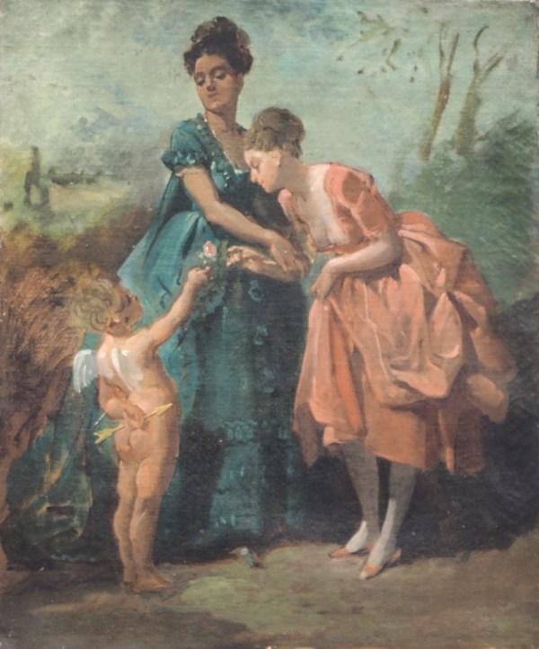 Coppia di dame con amorino, Pittore Francese -XIX Secolo