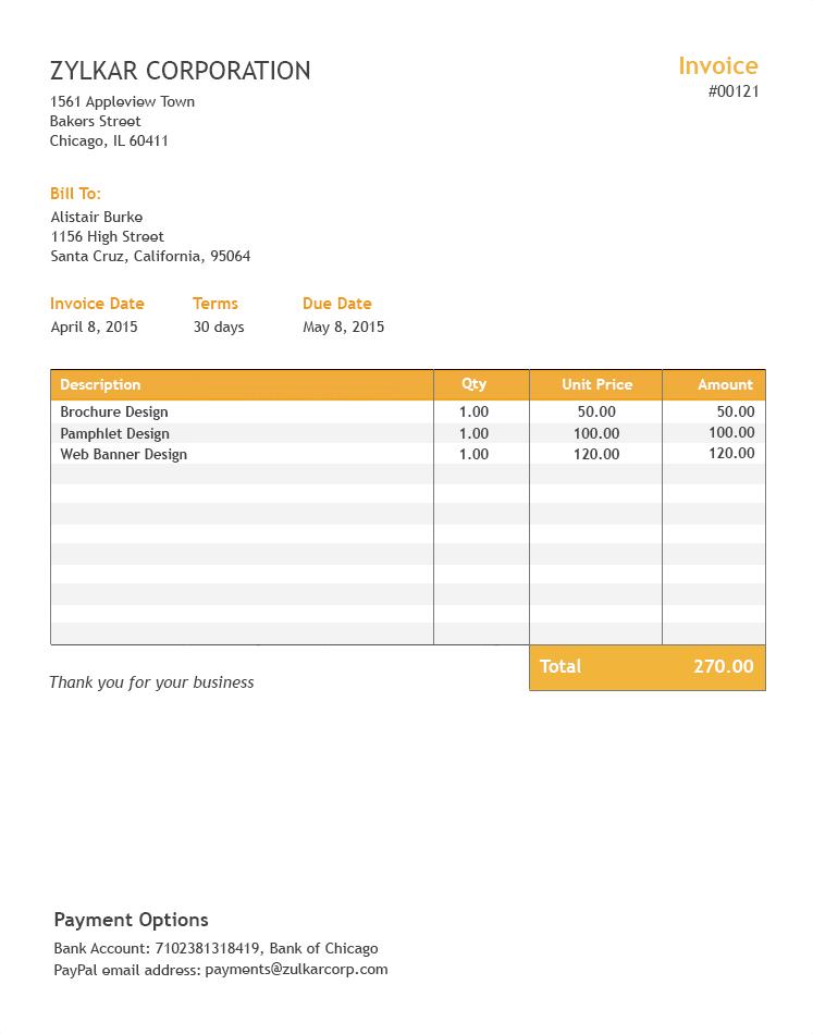 Free Excel Invoice Template Zoho Invoice