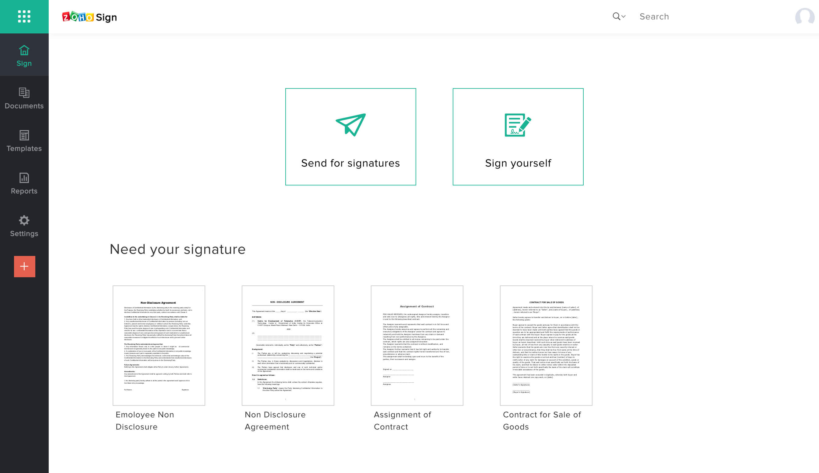 Zoho Sign Digital Signature Application For Business