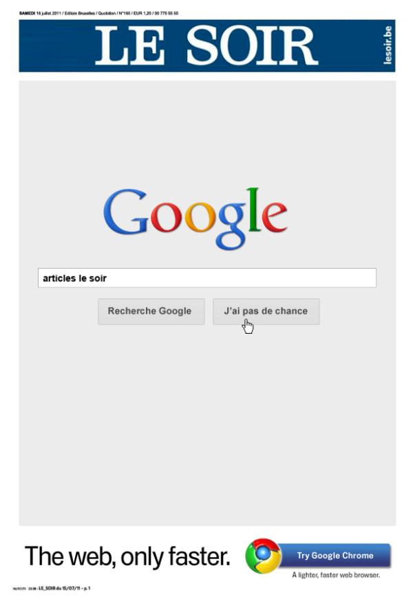 La Une du Soir après l'exclusion des résultats sur Google.