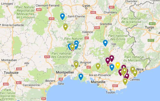 kaart Zuid-Oost Frankrijk