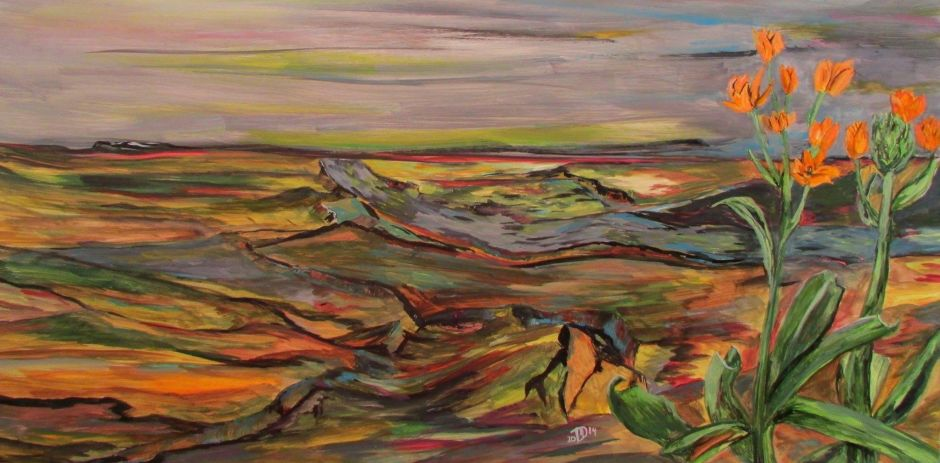 New Beginnings at the End. -- © 2014 By Duane Kirby Jensen, 10 x 20 x 2 inches (25.4cm x 50.8 cm)ink and acrylic on claybord