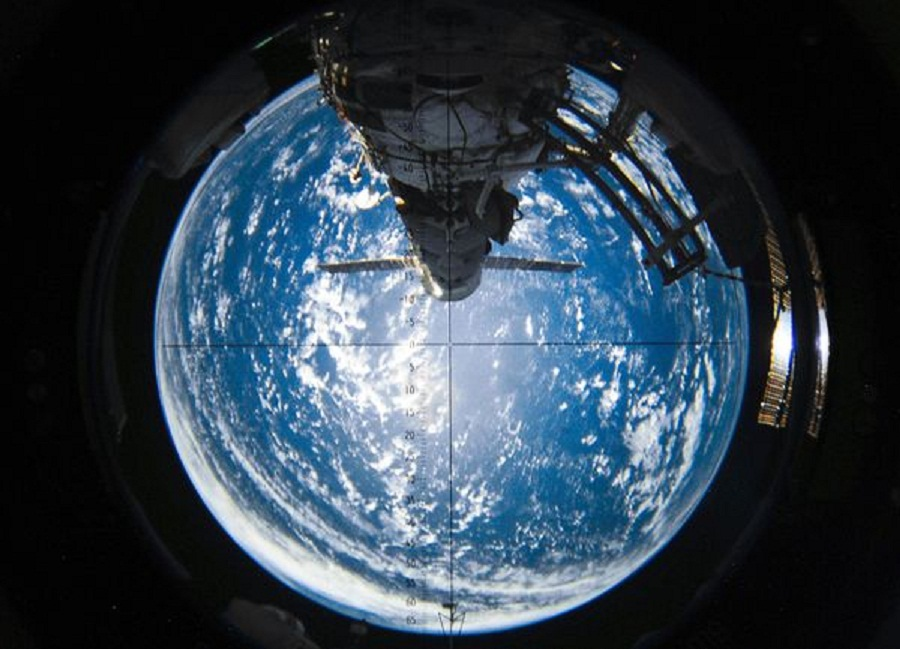 Creative global map zo magazine international space station supply vehicle docking progress rear end view with earth in background gumiabroncs Choice Image