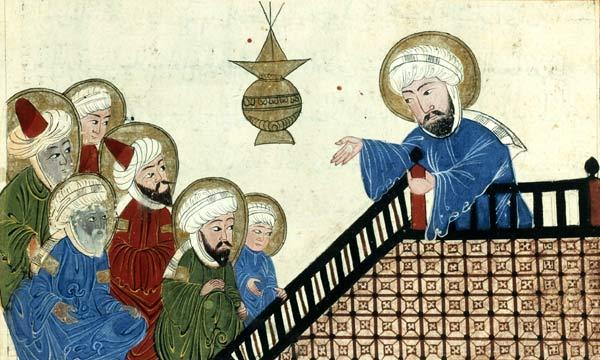 Mohammed (rechts) in seiner letzten Predigt zu seinen ersten Konvertiten auf dem Berg Ararat in der Nähe von Mekka. Islamische Darstellung von 1489, entworfen von von Abū Rayḥān al-Bīrūnī)