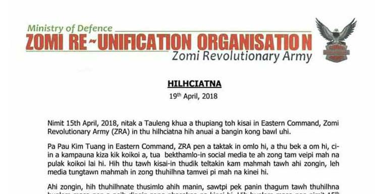 Kim Tuang vaitawh kisai ZRA panin Statement khahkhiatna