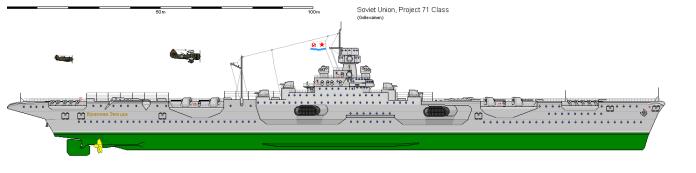 Proyecto 71, un portaaviones pequeño con un diseño más tradicional. Seis fueron planificados, pero no paso de la fase de diseño.