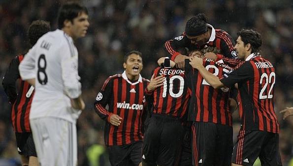Kaká y los jugadores del Milan