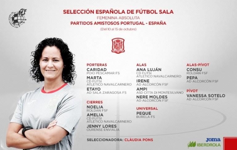 Convocatoria de Claudia Pons para los dos nuevos amistosos frente a Portugal