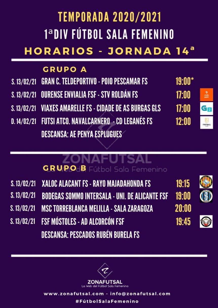 Horarios de la Jornada 14ª en 1ª División de Fútbol Sala Femenino