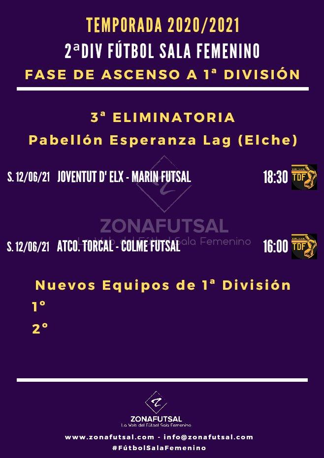 Horarios de la 3ª Eliminatoria por el ascenso a 1ª División