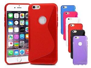 Premium Apple iPhone 6S Housse étui coque housse pour Apple iPhone Rouge Housse étui coque en silicone gel S-Line Wave Design 6S