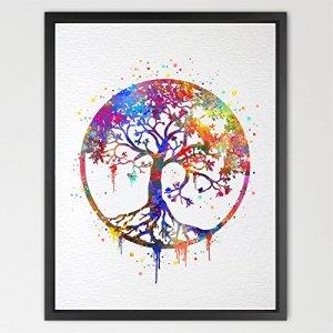 dignovel Studios Arbre de Vie imprimé Aquarelle Art mur Art Poster de cadeau de mariage chambre Nature love famille revêtue Housewares Bouddha Home Décor n346-unframed