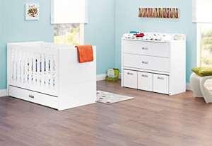 Pinolino Set économique Enzo Large, 2pièces, lit enfant (140x 70cm) et largeur Commode avec table à langer, blanc acier mat (Réf. 093405B)