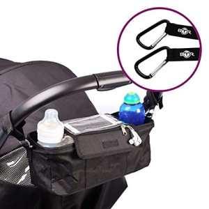 Sac organisateur BTR pour landau poussette avec support de téléphone portable et protection pluie – Noir – Résistant à l'eau. + Poussette Clips x 2