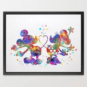 dignovel Studios Disney Mickey et Minnie imprimé Aquarelle enfants art mural art Poster filles Chambre Decor Art Mural cadeau de mariage cadeau d'anniversaire Best n160-unframed