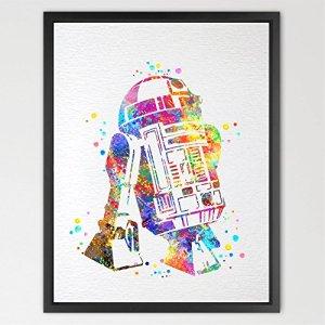 dignovel Studios imprimé Star Wars R2D2Enfant Imprimé Aquarelle Décoration murale Cadeau d'anniversaire Poster Movie Art Mural Impression Giclée Motif Chambre Decor maison décor n375-unframed