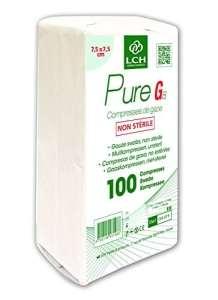 LCH Pure G8 – 100 Compresses de Gaze non stérile 7,5 x 7,5 cm – 17fils